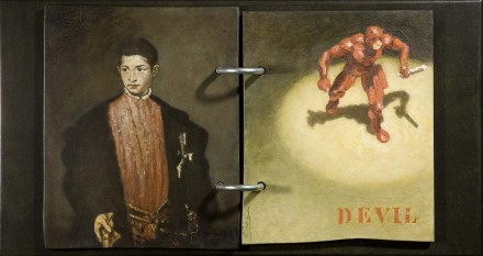 "DAREDEVIL  10 1/2"" x 19 3/4"" (27 x 50 cm)  - mixed media on wood - 2009"