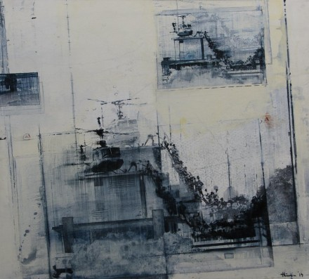 "COMPANIONWAY  45"" x 50"" (114 x 127cm) - mixed media on canvas - 2014"