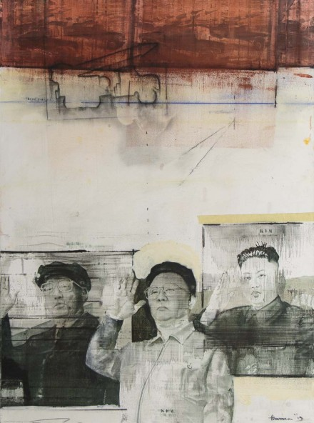 "3 KIMS  40"" x 54""  (102 x 137cm) - mixed media on canvas - 2013"