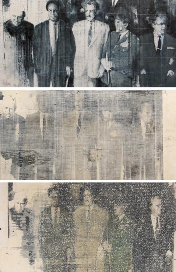 "THE NONALIGNED (Triptych)  3 -  24"" x 48"" (61 x 122cm) - mixed media on canvas - 2015"
