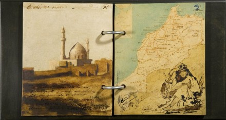 "ORIENTALIST  10 1/2"" x 19 3/4"" (27 x 50 cm) - mixed media on wood - 2008"