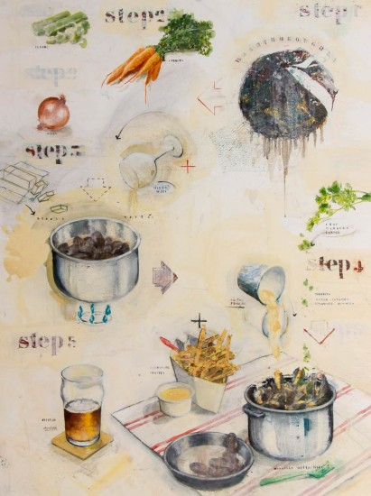 Mosselen witte Wijn (Mussels in White Wine) 130 x 97 cm - oil on canvas - 2016